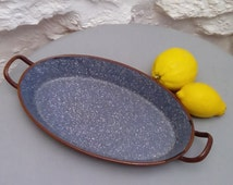 French enamelware baking dish, oval pie dish or bowl