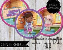 Doc McStuffins Birthday Party PRINTABLE Centerpieces- Instant Download | Disney Junior | Doctor McStuffins | Cake Topper