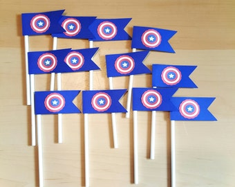 12 Superhero Flag Cupcake Toppers