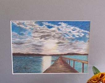 "Original coloured pencil ""Long Jetty NSW"""