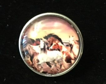 A Bunch of Wild Horses - Interchange Snaps for all Snap Jewelry - 20mm