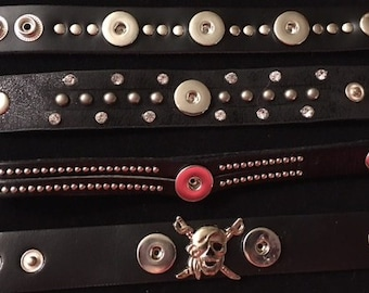 Genuine Leather Men's/Boys Interchangeable Snap Bracelets - Various Lengths and Styles - Find Your Style!