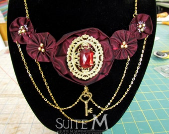 OOAK Royal Red Handsewn Fabric Flower Statement Necklace