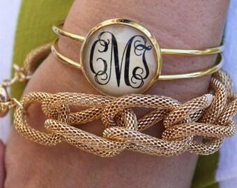 SALE SALE SALE Gold Monogram Cuff Bracelet