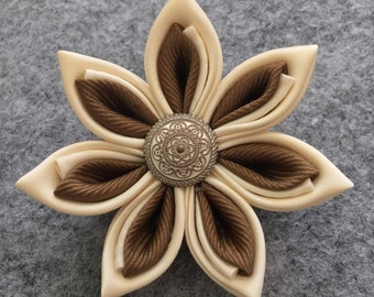 Cream/Lt. Coffee Flower Pin/Brooch-Satin/Grosgrain Ribbon Pin-Handmade Flower Pin-Kanzashi Pin-Unisex Lapel Pin-Makes A Special Gift!