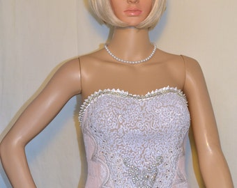 Burlesque showgirl corset/bustier ivory fleshtone and gold with diamantes small
