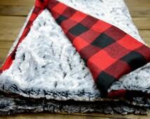 Custom Lumberjack Faux Rabbit Fur Red Plaid Throw Blanket, Gray, red black, christmas, cozy blanket monogram, Fall winter buffalo plaid