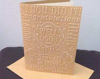 Well done congratulations graduation celebration vintage style handmade greeting card