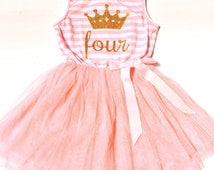 Pink BIRTHDAY TUTU DRESS 2nd 3rd 4th 5th Birthday Party Outfit Cake Smash Gold Glitter Tiara Crown Two Three Four Five Striped Bow Ribbon