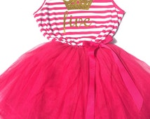 Hot Pink BIRTHDAY TUTU DRESS 2nd 3rd 4th 5th Birthday Outfit Cake Smash Party Two Three Four Five Gold Glitter Tiara Crown Number Toddler
