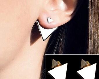 Gold Triangle Geometric Earrings