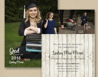 Triple Photo Graduation Announcement