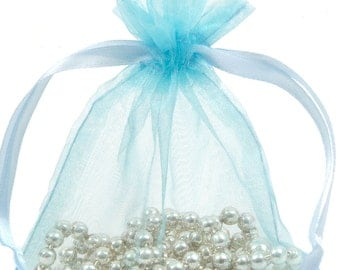 100 Pale Blue Organza Gift Pouch Wedding Favour Bag Jewellery Pouch- 6 Sizes