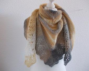 Cozy shawl with Angora - grey/natural/mustard
