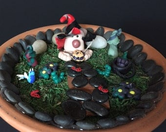 Pie eater gnome miniature fairy garden accessory spring summer indoor or outdoor handmade from polymer clay one of a kind