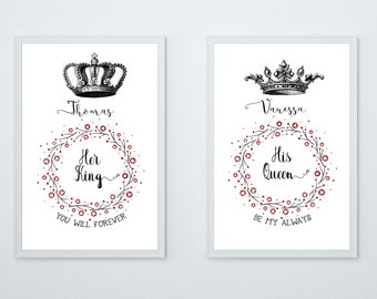 Wedding made King his Queen gift family art print, fine art print