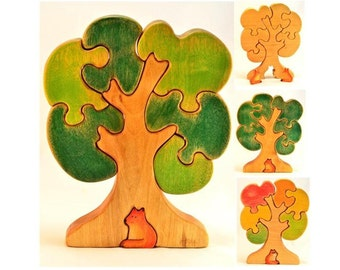 Wooden Tree Puzzle, birch, Gift for Toddlers and Children Tree figurine Handmade Eco Friendly Toy Waldorf Toy // Giochi con alberi