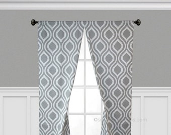 Gray Curtains Modern Geometric Curtain Panels Window Treatments Living Room Drapes Gray Home Decor Drapery