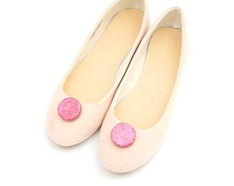 Pink glitter circles - shoe clips Manuu