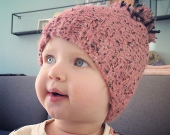 Children's hat | Knitted | Pink