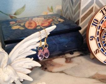 Pink Swarovski drop crystal earrings