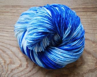 Hand Painted Skein - Blue -DK - New Merino Wool - 4ply - 100gm - 233m