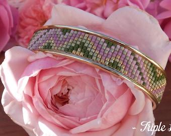 Cuff Bracelet gold LORIANE beads Miyuki