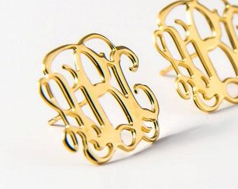 SALE 40% Monogram stud earring - monogram earrings - personalized earrings, custom earrings, stud earrings - One of a kind - Birthday gift