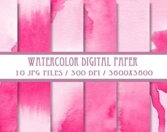 Rose Pink Watercolor Digital Paper ( Instant Download )