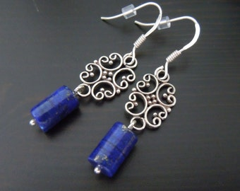 Pending Lapis Lazuli and Silver 925 Bali earrings