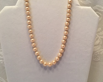 Japan Faux Pearl Necklace ~ 14.5 inches long ~ Champagne color ~ Vintage