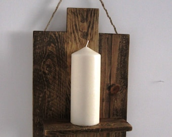 large rustic reclaimed wood candle holder