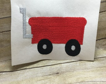 Wagon Embroidery Design, Red Wagon Embroidery Design