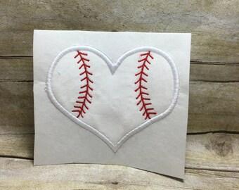 Baseball Heart Applique, Baseball Heart Embroidery Desing