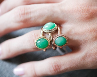 The Emma Ring with Chrysoprase Gemstone From the Elizabeth Henry Collection 20LZZR-P
