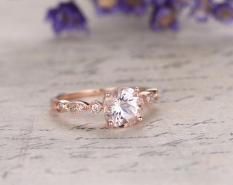 6.5mm Round Morganite  rose gold engagement ring marquise Solid 14k Rose gold promise ring,Diamond anniversary ring custom made fine jewelry