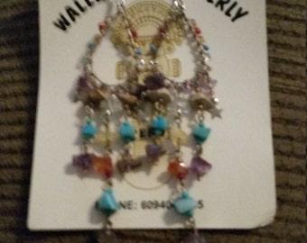Silver gemstone studded hook earrings