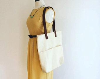Canvas tote, leather straps, market bag, totebag , pockets, cotton, rivets