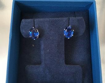 Blue Spinel Sterling Silver Stud Earrings