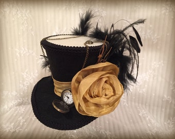 Black and Gold Mini Top Hat, Steampunk Hat, Mad Hatter Hat, Alice in Wonderland, Fascinator, Pocket Watch, Vintage, Cosplay, Tea Party