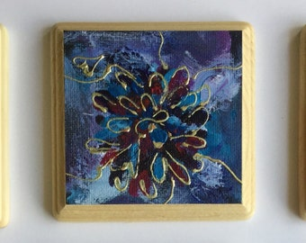Original Acrylic Abstract Blue Flower Paintings