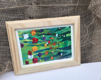 Framed Floral Abstract Painting
