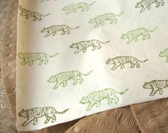 Green Tiger Pattern Woodblock Printed Lokta Paper Sheet 20x30 inches