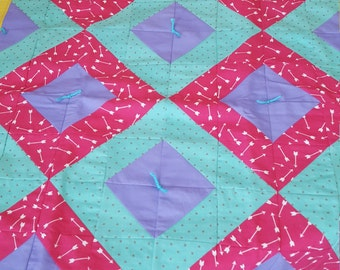 Pink/Purple/Light Blue Baby Quilt