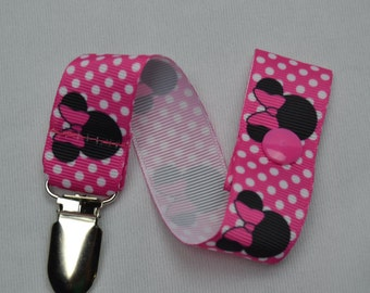 Mouse Heads Pacifier / Soothie Clip  Print Grosgrain Ribbon/ Pacifier Clip Soothie Holder