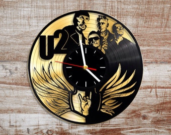 U2 vinyl record wall clock. Gold vinyl record. Rock band