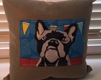 Tan cushion with french bulldog 45cmx45cm