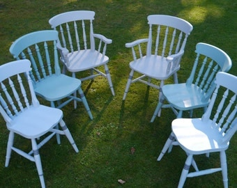 SOLD! Country Farmhouse Chairs  - Harlequin set of Six painted in three pastel shades with added detail on legs
