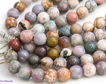 "15.5"" Full Strand 6mm and 14mm Available, Natural OCEAN AGATE JASPER Beads, Round Polished Smooth, Gemstone Beads, Necklace or Bracelet"
