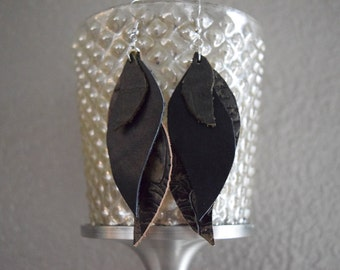 Empower Style Leather Earrings - black, olive green, dangle (Free Shipping)